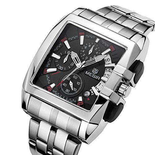 Mode Herrenuhren Quarzuhr Luxus Edelstahl Uhrenarmband Kleine Dekorative Zifferblatt Rechteck Analog Armbanduhren Für Herren, Schwarz