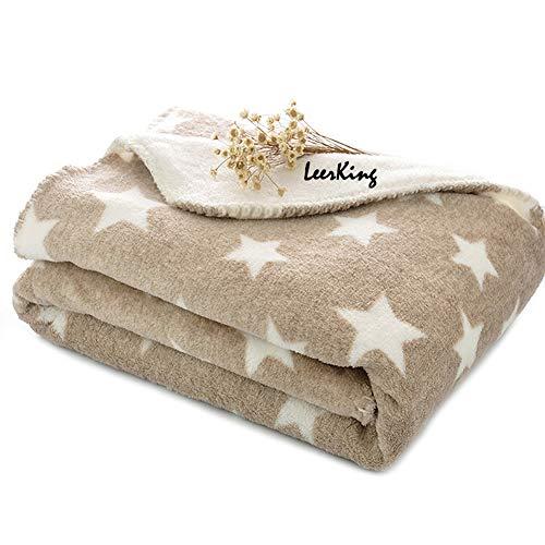 LeerKing Hundedecke doppeilseitige Schlafdecke waschbar Katzendecke für Sofa und Hundebett Braun L