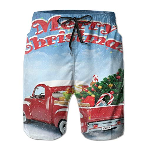 im Trunks,Pickup Truck Filed with Ornament Cold December Weather Snowflakes Merry Christmas,Summer Cool Quick Dry Board Shorts Bathing SuitM ()