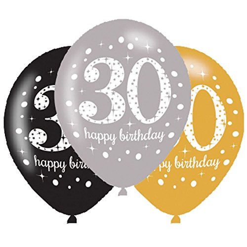 6 x 30th Birthday Balloons Black Silver Gold