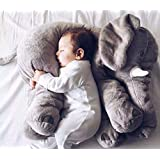 MFEIR® bebé elefante almohada de peluche de peluche almohadas largo nariz almohada de dormir animal Juguetes dormir los niños,Gris 60cm