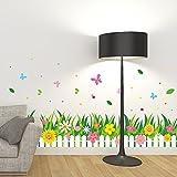 ALLDOLWEGE Kreativ Cartoon Blume Büsche fries Wall Sticker art Wohnzimmer schlafzimmer kinderzimmer Wanddekor selbstklebender Wand Blume 137 * 52 CM