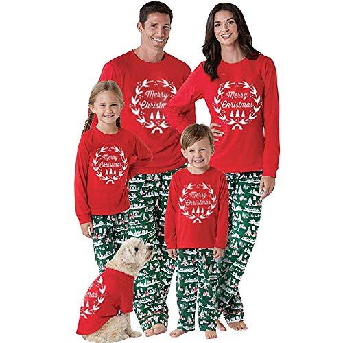 Riou Weihnachten Set Baby Schlaf Kleidung Pullover Pyjama Outfits Set Familie Frohe Weihnachts kostüme Santa Junge Mädchen Familien Pyjamas Set 2Pcs Schlafanzug (145-150CM, Baby)