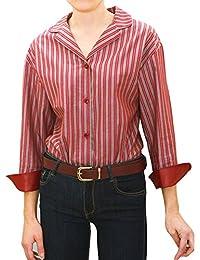 chaika Camisa Blusa Mujer Manga Larga Rayas Rojas Burdeos de Vestir de Moda 2018