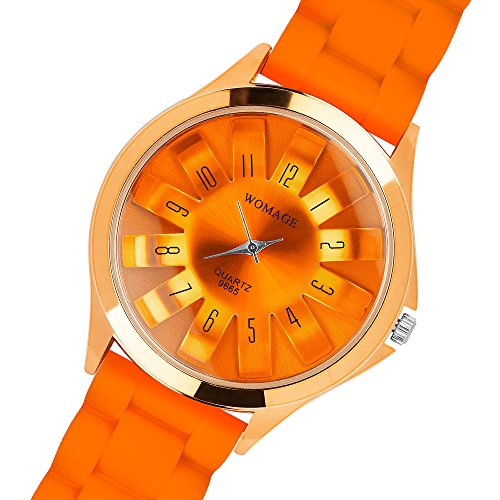 Taffstyle Damen Herren Trend Silikon Metall Armbanduhr mit Analog Anzeige und Quarz Uhrwerk Sportuhr Orange