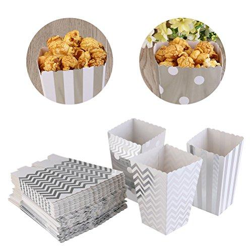 TOYMYTOY Silber Popcorn Taschen   Kartonagen - Süßigkeits Behälter, 36 Satz, 3 Arten