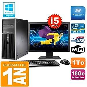 "HP PC Tower compaq 8200 Core I5-2400 RAM 16 GB Scheibe 1 tg Wifi W7 Bildschirm 19"""