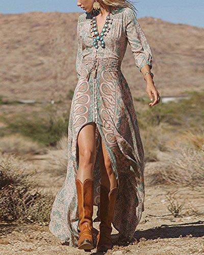 Donna Elegante Vestito Boho Scollo A V Manica Lunga Floreale Chiffon Maxi Vestito multicolore