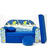 Kinder Sofa Couch Baby Schlafsofa Kinderzimmer Bett gemütlich verschidene Farben und motiven (C16 blau Afrika)