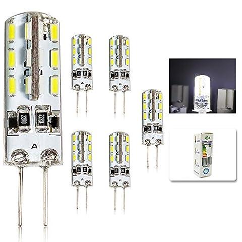 5er Pack G4 LED Lampe Kaltweiß - 2W 12V DC (Ersatz für 20 Watt Glühlampe) / 200 Lumen / 6000 Kelvin / Energieklasse A+