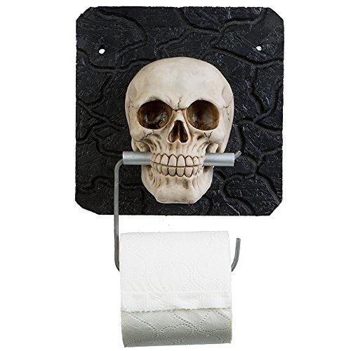 A.G.S. Toilettenpapierhalter Totenkopf Totenschädel Skull Halloween Bad WC Dekoration