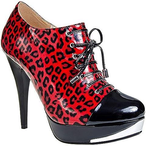 Botines con tacón de charol de leopardo de Bleeding Heart (Rojo)