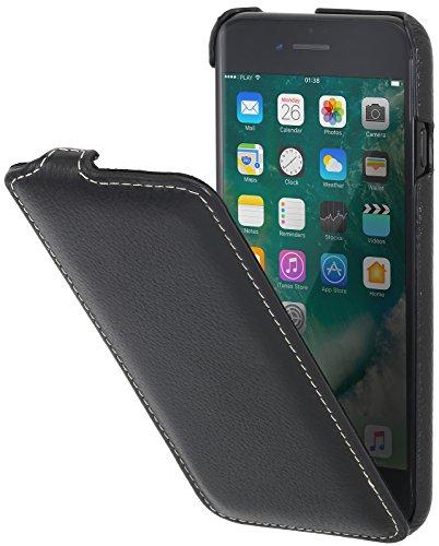 StilGut UltraSlim, housse iPhone 8 Plus & iPhone 7 Plus en cuir. Etui de protection à ouverture verticale et fermeture clipsée en cuir véritable, Rose Noir