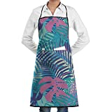Drempad Delantal de Cocina, Colorful Palm Leaves Fashion Waterproof Durable Apron with Pockets For Women Men Chef