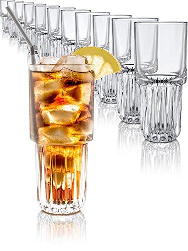 Libbey Gläser Cocktail-Gläser Longdrink-Set 12 Stück 296ml Wasser Glas-Set Gastronomie Qualität stapelbar EVEREST Hi-Ball Glas Kristallglas für kalte oder heiße Getränke