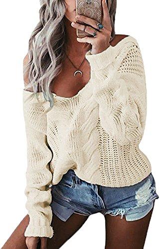 YOINS Oversize Pullover Damen Strickpullover Damen Sexy Off Shoulder Langarmshirt Schulterfrei V-Ausschnitt Causal T-Shirt Aprikose XL/EU46