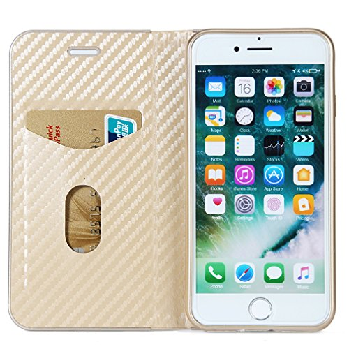 Fischschuppenmuster Neu Hochwertige Kohlefaser automatische Saug-Schnalle Hülle Case ,TPU + Leder Cover Full Body Schutz fürapple iphone 6 Marineblau Golden