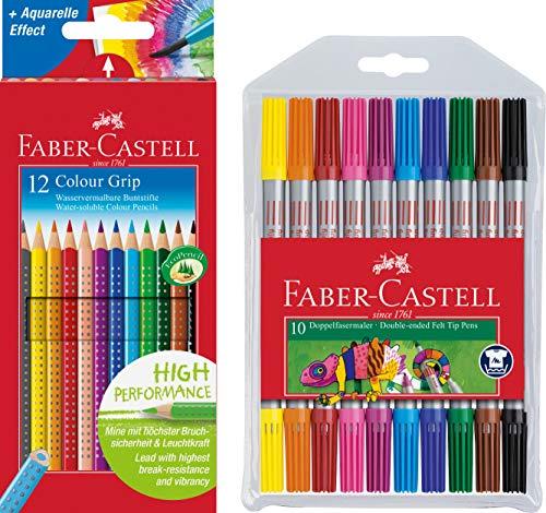 Faber-Castell - Buntstifte Colour Grip, 12er Kartonetui + 10er Etui Doppel-Fasermaler mit breiter und feiner Spitze -