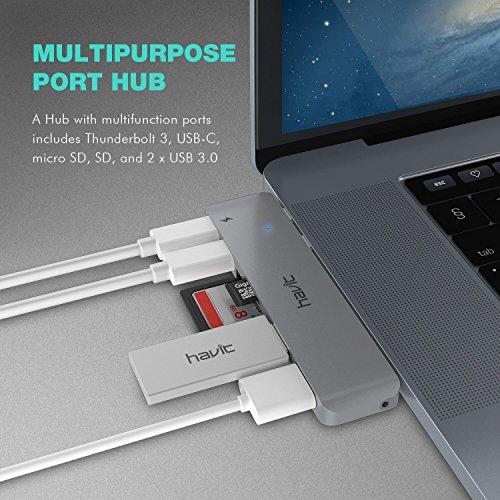 51dgPFrcyLL - [amazon] HAVIT Thunderbolt 3 USB-C-Hub für 2016/2017 Apple MacBook Pro für nur 50,99€