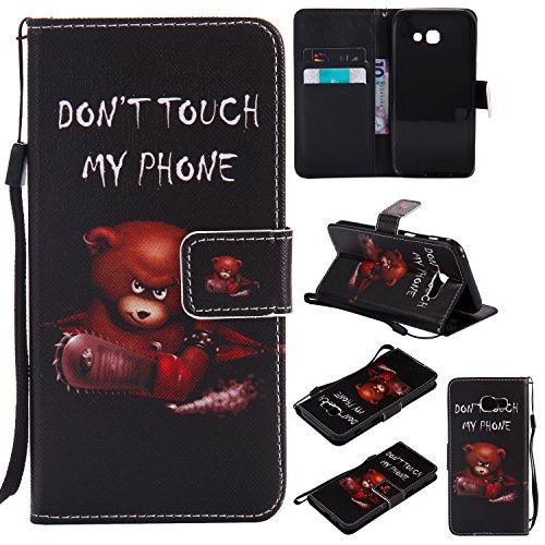 Everainy Kompatibel für Samsung Galaxy A5 2017 Hülle Silikon PU Leder Flip Schutzhülle mit Kartenfach Magnet für Galaxy A5 2017 Brieftasche innen TPU Bumper Handyhülle Hüllen (Don't Touch My Phone 1)