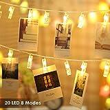 B-right Foto Clip Catene Luminose LED, 2,2 Metri 20 Foto Clip, Bianco Caldo, Foto molletta con 8 modalità d'illuminazione, appendini Foto perfette per Appendere Foto, pitture e Disegni ECC.