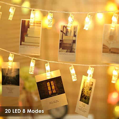 Foto Clips Lichterketten 20 LEDs B-right LED Lichterkette warmweiß, Lichterkette Batteriebetrieben, Lichterkette wäscheklammern Wanddekoration für Hängendes Foto Gemälde Bilder in Weihnachten - Moderne Dekorative Beleuchtung-befestigung