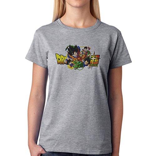 Dragon Ball Super Characters Goku Gohan Vegeta Trunks Goten Buu Damen T-Shirt Grau