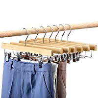 "HOUSE DAY White Wood Hangers 14"" Wood Bottom Hangers with Clips - 25pcs Wooden Pant Skirt Hangers"