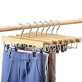 HOUSE DAY 25 pezzi Appendini in legno per pantaloni 14 'Appendini in legno con clip Salvaspigoli per pantaloni, gonne, jeans e pantaloni