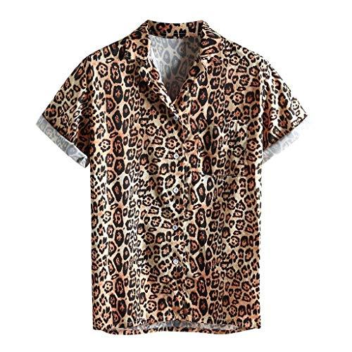 ღLILICATღ Casual Camisa de Hombre Hawaiana con Manga Corta Bolsillo Delantero Estampado de Leopardo De Hawaii Playa Camisa Holgada Informal