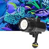 1500 lúmenes 60 m Buceo subacuático LED Luz de antorcha Lámpara de video brillante para GoPro HERO7 / 6/5/5 Session / 4 Session / 4/3 + / 3/2/1, Xiaoyi y otras cámaras de acción (negro) Durable