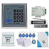 Obo mains électrique kit complet de serrure de porte clavier de contrôle d'accès RFID + fermeture magnétique + Power + Bouton + Sonnette + 5 cartes + 5 Keyfobs (K2000 (180kg))