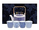 Tokyo Design Studio, Nippon Blue, Tee Set. Teekanne 0,8ltr, und vier Tassen in dekorativer Geschenkbox. Teeservice Porzellan Set.