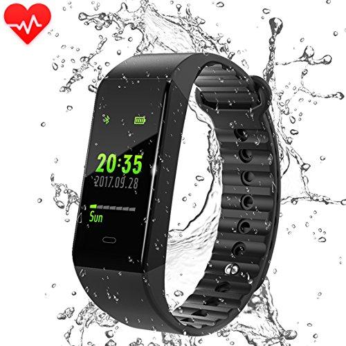 Fitness Tracker, Pulsera Actividad Pulsera de reloj deportivo, Rastreador de fitness impermeable IP67 con monitor de ritmo cardíaco de muñeca para hombres Mujeres Niños, Monitoreo de podómetro, modo deportivo y calorías Notificaciones de monitoreo de sueño Llamadas y SMS para iPhone Smartphone con iOS de Sumsang para Android (Negro 1)