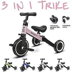 KORIMEFA 3 en 1 Vélo Draisienne Tricycle Évolutif pour Enfants 1-2,5 Ans Premier Vélo sans Pédale pour Bébés Filles Garçons Selle et Guidon Réglable (Rose)