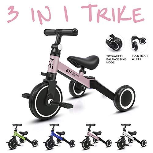 KORIMEFA 3 IN 1 Multi Dreirad ab 1 Jahre Laufrad Kinderdreirad Dreirad für Kinder CE-Zertifizierung für 10-36 Monate Mädchen Junge