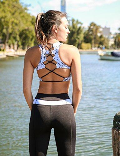 icyZone®Femme Fitness yoga soutien-gorge -Sans Armature pour Fitness Yoga Jogging- s'étend avec un rembourrage amovible Chinese Ink
