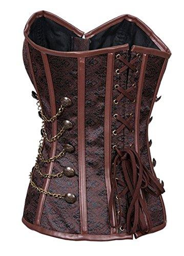Damen Steampunk Korsett mit Brokatmuster Stahlstäbchen Vollbrust Corsage Braun 2