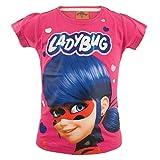 Miraculous LadyBug Cat Noir - T-Shirt Camiseta - para niña - 57IMFT [Fucsia Corazones - 8 años - 128 cm]