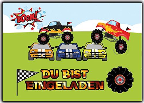 Einladungskarten zum Kindergeburtstag Monstertruck - 8 Stück Auto Jungen Mädchen Karten Geburtstag Kinder Autorennen cart Einladung
