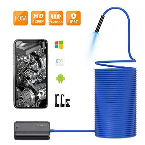 Depstech 1200P 1800mAh Batterie Halbsteifen Kamerakabel Upgrade Wireless Borescope, WiFi Inspectionskamera Brennweite bis 40cm für Android & IOS Smartphone Tablet - blau (32.8 ft / 10M)