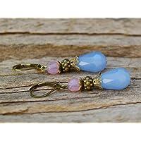 Vintage Tropfen Ohrringe mit Glasperlen - hellblau, rosa-opal & bronze