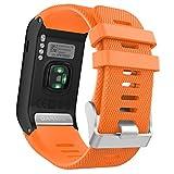 MoKo Garmin Vivoactive HR Correa de Reloj, Suave Silicona Reemplazo Watch Band para Garmin Vivoactive HR Deporte GPS Smart Watch con Pins y Herramientas Adaptador - Naranjo