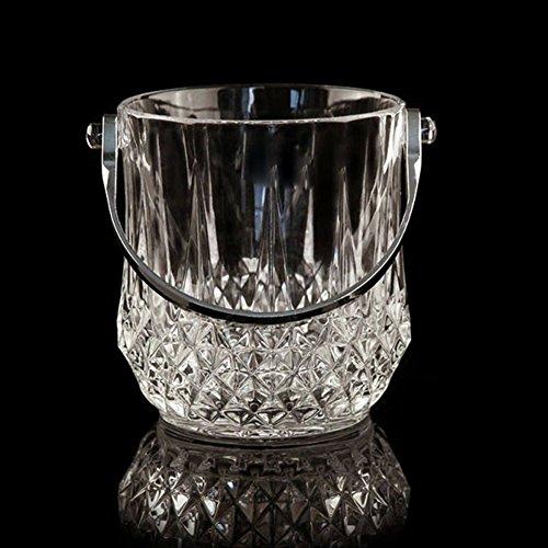 IC&EO Home Glas Klar Eiseimer,durchsichtige Weinkühler Getränke Eimer Wein Eimer Eiswürfelcontainer Wein Kühler Kühler Mit Griff-klar 13x14cm(5x6inch)