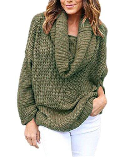Aivosen Pullover Donna Colletto Di Lana Sweatshirt Sciolto Manica Lunga Maglione Puro Colore Casual Cappotto Caldo Maglioni Comodo Green