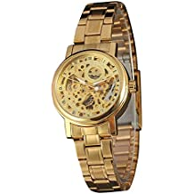 GuTe Mujeres Casual automática reloj de pulsera mecánico con oro esqueleto Esfera Analógica Pantalla