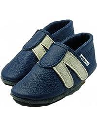 Mopu's® Krabbelschuhe - Lederpuschen im Turnschuhlook - blau mit weißen Streifen - handgemachte Markenqualität aus Deutschland