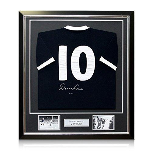Exclusive Memorabilia Denis Lawback Fußballtrikot mit Autogramm von Denis Law, mit Wembley 1967-Stickerei, schwarzer Rahmen mit silberfarbener Einlage