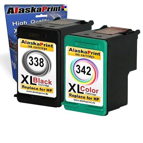 Alaskaprint Refilled Cartouches d'encre Remplacement pour hp 338 xl + hp 342 xl (Noir, Couleur 2-Pack)