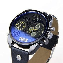 Soleasy Luxury Cool Mens Boys Analog Sport Steel Case Quartz Date Leather Wrist Watch WTH8047